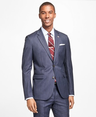 Brooks Brothers Milano Fit Textured Track Stripe 1818 Suit