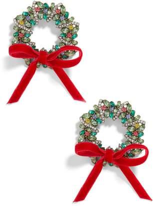 BaubleBar Crystal Holiday Wreath Earrings