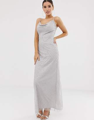 660dabbdca Lipsy embellished cowl front maxi dress in silver