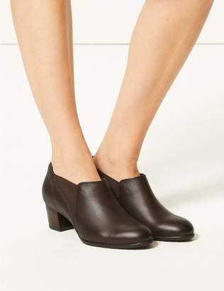 Marks and Spencer Leather Wide Fit Block Heel Loafers