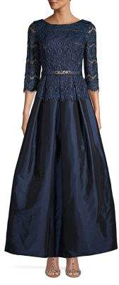 Eliza J Floral Lace Three-Quarter Gown