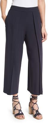 Rag & Bone Rowe Pleated Cropped Wide-Leg Pants, Dark Blue