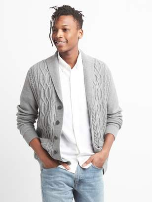 Gap Cable-Knit Shawl Collar Cardigan Sweater in Combed Cotton
