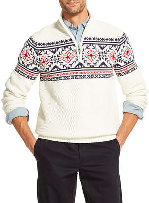 Izod Fairisle Quarter-Zip Sweater