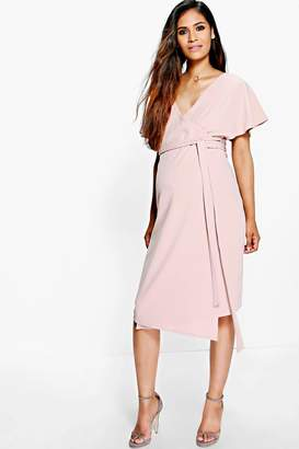 boohoo Maternity Crepe Wrap Midi Dress