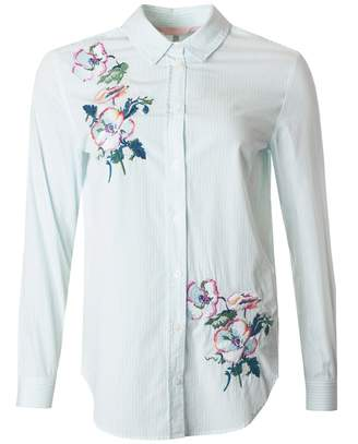 Joules Embroidered Longline Striped Shirt Colour: LIGHT BLUE, Size: 12