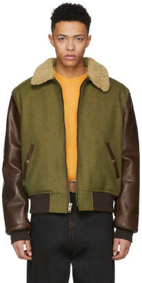 Schott Green and Brown Wool Leather Jacket