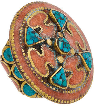 Devon Leigh Coral & Turquoise Ring