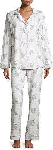 BedHeadBedhead Travel-Print Classic Pajama Set, White