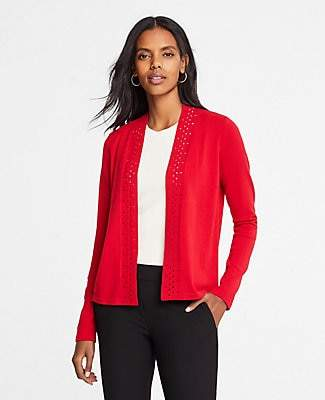 Ann Taylor Petite Cutout Placket Open Cardigan