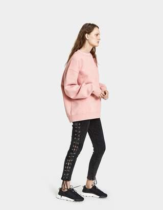 Acne Studios Yana Ribbed Sweatshirt in Pink Melange