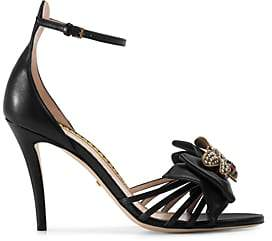 Gucci Women's Embellished Leather Ankle-Strap Sandals - Black