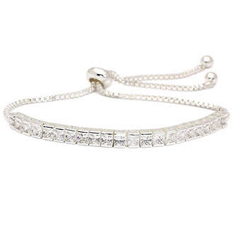 clear SPARKLE ALLURE Sparkle Allure Cz 5 1/4 CT. T.W. Lab Created Silver Tone Brass Bolo Bracelet