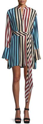 Diane von Furstenberg Long-Sleeve Silk Floral Shirtdress