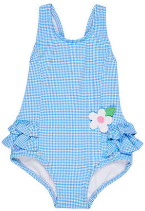 Florence Eiseman Gingham Ruffle-Trim One-Piece Swimsuit, Size 6-24 Months