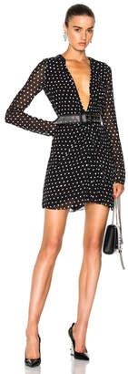 Saint Laurent Plunging Polka Dot Mini Dress