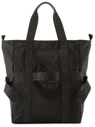 Versace Men's Greek Chain Nylon Tote Bag