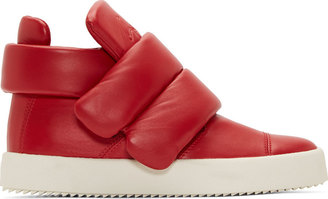 Giuseppe Zanotti Red Leather Padded London Lounge Sneakers $925 thestylecure.com