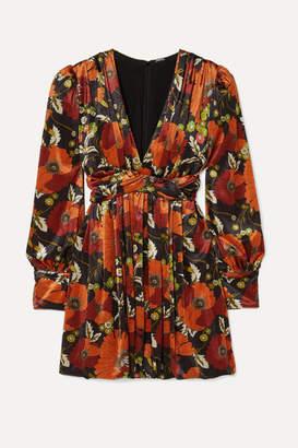 Dodo Bar Or Malenia Twisted Floral-print Velvet Mini Dress - Orange