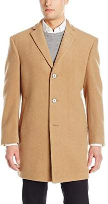 Calvin Klein Men's Prosper Solid Single Breasted Wool Blended Overcoat Extreme Fit
