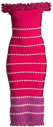 Herve Leger Crochet Knit Off-The-Shoulder Midi Dress