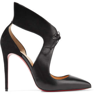 Christian Louboutin - Ferme Rouge Cutout Leather And Suede Pumps - Black $995 thestylecure.com