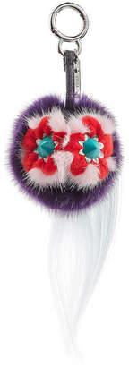 Fendi Mini Tweet Keychain with Fox Fur