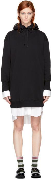 MSGM Black Bejewelled Logo Hoodie Dress