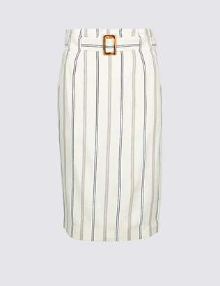 Marks and Spencer Linen Blend Striped Pencil Skirt