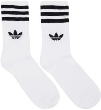 adidas Three-Pack White Solid Crew Socks