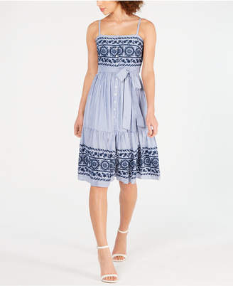 5a136224 Vince Camuto Sleeveless Embroidered A-Line Dress