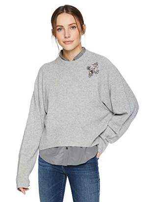The Kooples Women's Knitted Crew Neck Sweater with Jeweled Fleur De LYS Detail