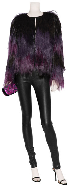Emilio Pucci Brown and Purple Fur Jacket