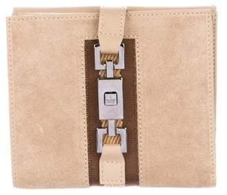 Gucci Suede Web Compact Wallet