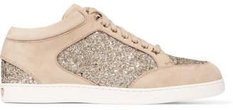 Jimmy Choo Miami Glitter-paneled Suede Sneakers - Beige