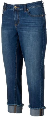 Women's Jennifer Lopez Frayed Roll-Cuff Capri Jeans $50 thestylecure.com
