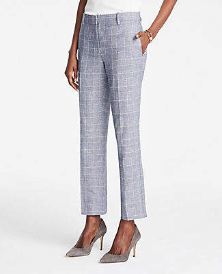Ann Taylor The Ankle Pant In Glen Check - Curvy Fit