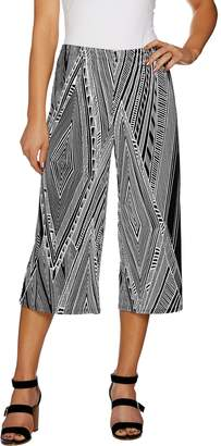 Susan Graver Printed Liquid Knit Wide Leg Crop Pants
