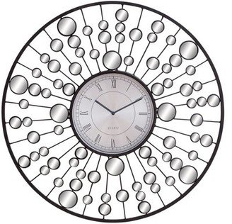 DecMode Decmode Contemporary 26 Inch Molecular Metal and Mirror Wall Clock
