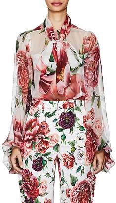 Dolce & Gabbana Women's Peony-Print Silk Chiffon Tieneck Blouse