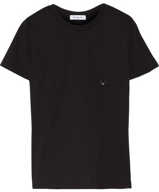 Mugler - Embellished Cotton-jersey T-shirt - Black $160 thestylecure.com