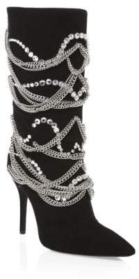 Giuseppe Zanotti Crystal& Chain Suede Mid-Calf Boots