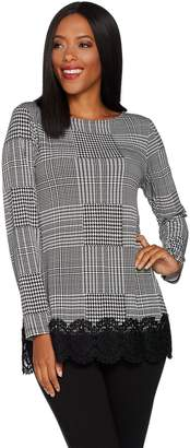 Susan Graver Printed Liquid Knit Tunic with Lace Trim