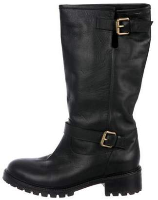 Fendi Leather Round-Toe Boots Black Leather Round-Toe Boots