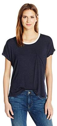 Velvet by Graham & Spencer Women's Lux Gauze Ringer Pocket Tee