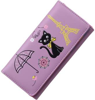 D-Sun Women Wallet Cute Cat Wallet Bifold Long Purse High Capacity