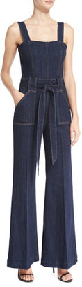 7 For All Mankind The Palazzo Denim Jumpsuit, Dark Sky Broken Twill $229 thestylecure.com