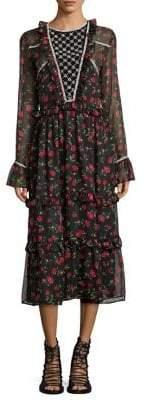 Dodo Bar Or Roberta Rose-Print Bell-Sleeve Dress