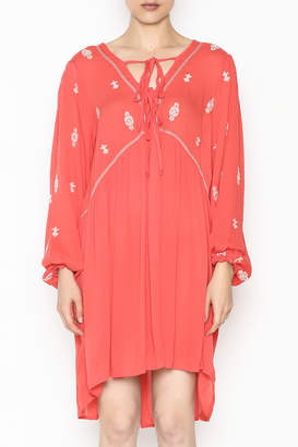 She + Sky Embroidered Tie Dress
