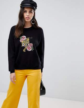 Liquorish tiger and flower embroidered sweater